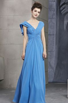 Royal Blue Chiffon Floor-Length A-Line Dress -