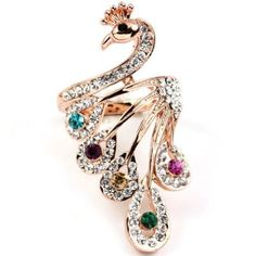 Rose Gold Plated Multi colored Peacock Swarovski Crystal Ring buy at mariescrystals.com