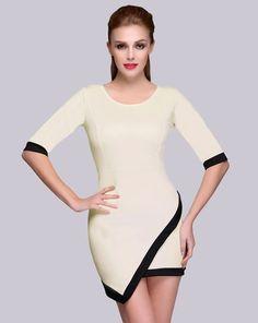 $ 7.88 Stylish Lady Women's Casual New Fashion Half Sleeve Irregular Hem O-neck Sexy Stretch Dress