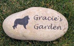 CUSTOM Dog Cat Memorial Pet Stone Grave Marker Headstone Sheltie & Other Breeds