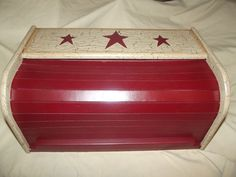 Primitive Crackle Wood Roll Top Bread Box ~ Burgundy Stars ~ Country Decor