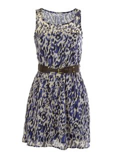 Be inspired with Moroccan geometric patterns in our Blues Traveler trend! This fully lined fashion dress features animal print, cinch stretch waist, lightweight chiffon and a rope belt with adjustable buckle closure. Imported.