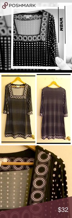 """White House Black Market Polka Dotted Dress Classic style shape illusion dress. Flattering on any size large body type.  The square neckline looks amazing.   🌹Length 38""""  🌹Easy to wear.   🌹Dress up or down.  🌹Perfect holiday dress                                       🌹MAKE YOUR OFFER🌹 White House Black Market Dresses Midi"""