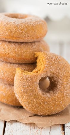 Baked Pumpkin Doughnuts, these are the BEST! And tossed in cinnamon sugar, oh my.