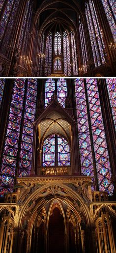 La Sainte-Chappell in Paris -- a colorful sight to behold.  Painted stonework and the stained glass in upper chapel illustrate 1,130 figures from the Bible.  Rose windows are geometric wonders.