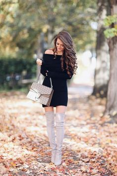 Love this fall look! Off the shoulder dress with Stuart Weitzman boots