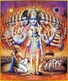 ***Bhagavad Gita Arjuna said: My dear Lord Krishna, I see assembled in Your body all the demigods and various other living entities. I see Brahma sitting on the lotus flower, as well as Lord Shiva and all the sages and divine serpents. Hare Krishna, Señor Krishna, Krishna Leela, Shri Hanuman, Lord Krishna Images, Krishna Photos, Kriya Yoga, Om Gam Ganapataye Namaha, Relaxation Pour Dormir
