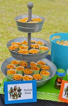 Carter & Clayton's Totally Awesome TMNT Birthday Party | CatchMyParty.com ~ Turtle Food (Goldfish)