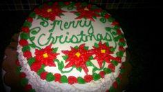 Christmas Cake with Poinsettias.