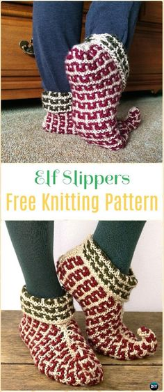 Knit Elf Slippers Free Pattern - Knit Adult Slippers Free Patterns