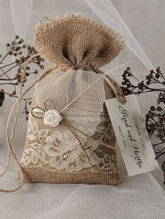 Custom listing Lace Rustic Favor Bag, Rustic Wedding Bag Lace Wedding Favor Bag, Burlap Favor Bag Wedding thank you Rustic gift bag by forlovepolkadots on Etsy Burlap Wedding Favors, Burlap Favor Bags, Wedding Invitations, Shower Invitations, Wedding Decorations, Wedding Bag, Wedding Favor Bags, Lace Wedding, Burlap Crafts