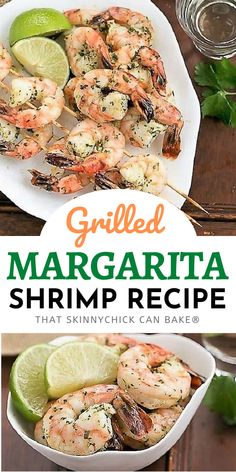 Margarita Shrimp - A simple, flavorful marinade makes these succulent shrimp a cinch to prepare. Perfect for a summer BBQ! Lobster Recipes, Seafood Recipes, Vegan Recipes, Pie Recipes, Cookie Recipes, Homemade Desserts, Fun Desserts, Dessert Recipes, Drink Recipes