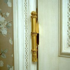 Door hinge designed by Howard Slatkin, for guest room in New Jersey country house.