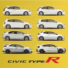 Honda Civic Type R Full Generations Honda Civic Hatchback, Honda Crx, Honda Civic Type R, Honda Civic Coupe, Us Cars, Sport Cars, Soichiro Honda, Austin Cars, Japan Cars