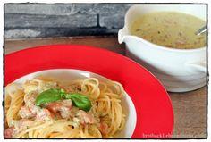 brotbackliebeundmehr - Foodblog - Spaghetti in Bärlauch-Käse-Soße mit Tomatenwürfeln