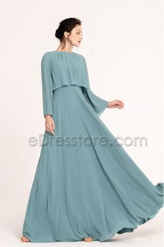 The seaglass green bridesmaid dress features popular popover style with modest long sleeves, slightly ruched neckline, A Line skirt floor length. Modest Bridesmaid Dresses, Modest Dresses, Stylish Dresses, Simple Dresses, Dresses With Sleeves, Indian Fashion Dresses, Fashion Outfits, Long Gown Dress, Chiffon Dress Long