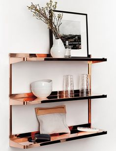 6 Super-Easy (and Super-Cheap) Ways to Make Your Home Look Expensive gorgeous copper shelving unit / new tendency Copper Shelving, Copper Shelf, Metal Shelves, Gold Shelves, Storage Shelving, Office Shelving, Shelving Units, Floating Shelves, Decoration Inspiration