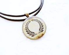 Vintage laurel wreath necklace  unisex jewelry by CitrusCat