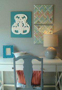 Aqua, Teal & Poppy teen bedroom by Sarah Elizabeth Interior Design