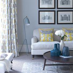 decoração de sala cinza e amarelo
