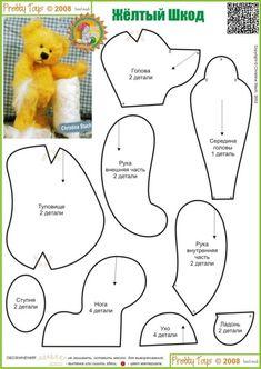 Oyuncak kalıpları - Kadınlar Kulübü Plushie Patterns, Felt Patterns, Sewing Patterns, Sewing Stuffed Animals, Stuffed Animal Patterns, Sewing Slippers, Teddy Bear Design, Baby Mobile Felt, Sock Dolls