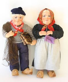 Beautiful Vintage Ravca Stockinette Dolls - Fisherman Woman Old Couple - Italy