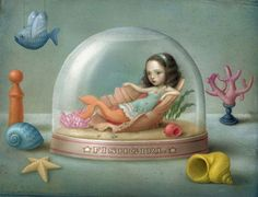 Nicolette Ceccoli....I <3 her art all over the place. What a wonderful lil mermaid-Alice!