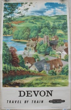 Original Railway Poster - Devon Travel by Train, by Barber. Available on originalrailwayposters.co.uk