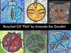 "Recycled CD ""Pet"" Artwork by Amanda the Doodler, via Kickstarter."