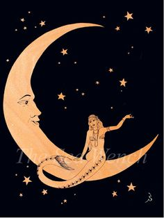 Paper Moon Mermaid art print 12 x 16 by TheSeaWench on Etsy