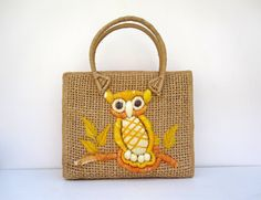 Hey, I found this really awesome Etsy listing at https://www.etsy.com/listing/125629324/owl-tote-bag-straw-purse-or-handbag