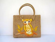 Owl Tote Bag  Straw Purse or Handbag  Orange by LoveButlerVintage, $38.00