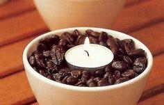 centros de mesa con cafe y velas