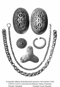 "Viking bronze artifacts -- grave finds from Norway, Finnmark, Vadsø; I think I could use my newly acquired chain maille skills for the chains.  I think a chain would be a nice contrast to the usual beaded ""bling string."""