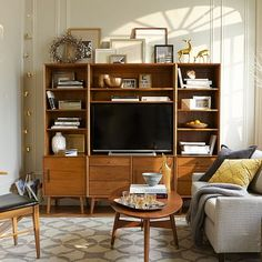 "Mid-Century Media 6-Piece Set - Acorn | west elm. wide hutch 40""w, total width 81""w, total height 69""h"