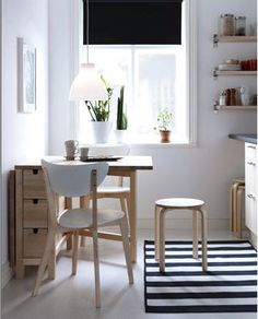 Stackable stools and a table with both drawers and an extra leaf would be great for any little kitchen.