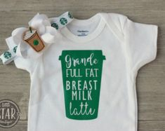Breastmilk Latte Onesie - Full Fat Breast Milk Latte - Breastfeeding Onesie and Bow - Starbucks Baby Shirt Bow Set - Breastfeeding Shirt