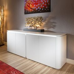 Luxury 4 Door Large Modern Sideboard Cabinet in White Oak Finish LEDs Modern White Sideboard, Sideboard, Home Office Design, Cabinet, Coffee Table Design, Large Modern Sideboard, Oak Finish, White Sideboard, Luxury Sideboard
