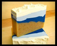 Surf & Sand Olive Oil Soap -- Yellow, Blue and White Soap -- Handmade Soap -- Bath and Beauty -- Beach Soap