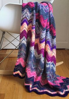 Free Knitting Pattern for Lily's Scrap Blanket - This is a recipe for creating a chevron striped blanket than a rigid pattern by winding stash yarn into DIY monster yarn cakes (instructions provided). Great use for stash or scrap yarn. Designed by Webster Street Knittery Afghan Patterns, Crochet Blanket Patterns, Knitting Patterns Free, Knit Patterns, Free Knitting, Baby Knitting, Free Crochet, Knit Crochet, Crochet Afghans