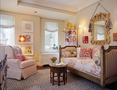 Brilliant idea for a girl's room.  I love the upholstered twin bed against the wall to make a daybed.