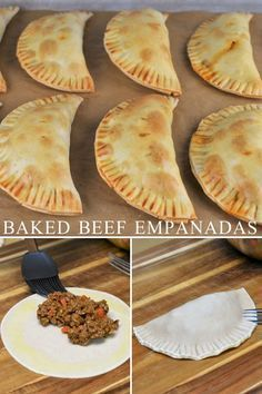 Beef Empanadas - These beef empanadas are baked not fried and feature an easy-to-make ground beef filing. Empanadas -Baked Beef Empanadas - These beef empanadas are baked not fried and feature an easy-to-make ground beef filing. Baked Empanadas, Mexican Beef Empanadas Recipe, Beef Empanada Recipe, Baked Beef Empanadas Recipe, Empanadas Dough For Frying, Chicken Empanadas, Meat Recipes, Cooking Recipes, Easy Mexican Food Recipes