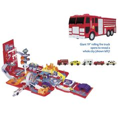 Foldout Fire Station Playset - Educational Toys, Specialty Toys and Games - Creative, Award Winning for Science, Math and More | Young Explorers