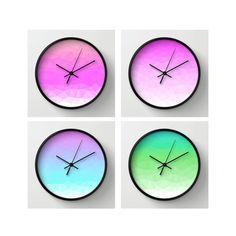 Neon Polygon Wall Clock by VQSTUDIO on Etsy
