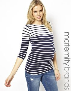 ASOS Maternity New Look Maternity Striped Boat Neck Top