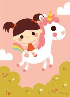 Riding a white unicorn - www.lulibunny.com - © 2013