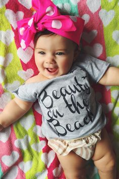 Our Beauty on the Beach design is an 100% cotton tee shirt. Soft, durable, comfortable and light weight.  Sizes Currently Offered: 6 Months 12 Months 18 Months 24 Months 2T/3T/4T