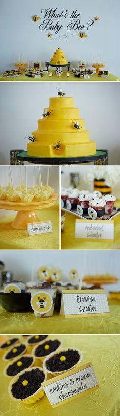 bee_themed_baby_shower_room_dessert_table_red_velvet_shooters_lemon_cake_pops_bee_cake