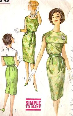 Misses One Piece Dress with Detachable Collar Vintage Sewing Pattern, Cocktail or Dinner Dress, Mad Men, Simplicity 3973 Vintage Dress Patterns, Clothing Patterns, Vintage Dresses, Vintage Outfits, 60s Patterns, Clothing Styles, Vintage Fashion 1950s, 1960s Fashion, Vintage Ladies