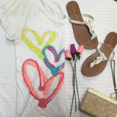 I just discovered this while shopping on Poshmark: VS PINK Hearts Shirt. Check it out! Price: $13 Size: S